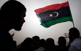 Libyans gather during the funeral of fighters loyal to the Government of National Accord (GNA) in the capital Tripoli, on April 24, 2019, after they were reportedly killed during clashes with forces loyal to strongman Khalifa Haftar in al-Hira region, about 70 kilometres south of Tripoli.