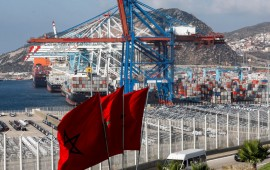 This picture taken on June 28, 2019 shows a view of container cranes at terminal I of the Tanger Med port in the northern city of Tangiers on the Strait of Gibraltar