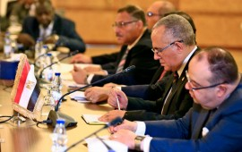 "Egyptian Water Resources Minister Mohamed Abdel Aati (2nd R) participates with a delegation in the ""Renaissance Dam"" trilateral negotiations with his Sudanese and Ethiopian counterparts (unseen) in the Sudanese capital Khartoum on October 4, 2019."