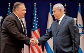 Israeli Prime Minister Benjamin Netanyahu (R) shakes the hand of US Secretary of State Mike Pompeo following their meeting in Jerusalem on October 18, 2019.