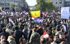 yrians take part in a protest against the United States and in support of Iranian general Qassem Soleimani at the Saadallah al-Jabiri Square in Aleppo, northern Syria, on Jan. 7, 2020.