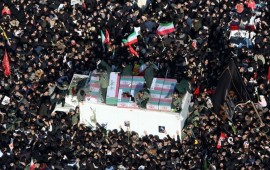 A drone photo shows thousands of Iranians attend the funeral ceremony of Qasem Soleimani, commander of Iranian Revolutionary Guards' Quds Forces, who was killed in a U.S. drone airstrike in Iraq, in Tehran, Iran on January 06, 2020.