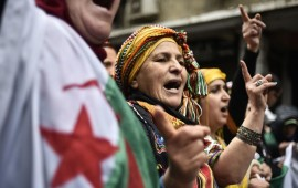 Algerians chant slogans as they take part in an anti-government demonstration in the center of the capital Algiers on January 10, 2020.