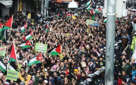 Thousands of Jordanians protested on Friday against President Trump's Middle East Peace Plan on January 31, 2020 in Amman, Jordan.