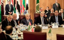 Palestinian president Mahmud Abbas (3rd-L) and Palestine Liberation Organisation (PLO) Secretary-General Saeb Erekat (2nd-L) look on as Arab League Secretary-General Ahmed Aboul Gheit (L) reads a statement during an Arab League emergency meeting discussing the US-brokered proposal for a settlement of the Middle East conflict, at the league headquarters in the Egyptian capital Cairo on February 1, 2020.