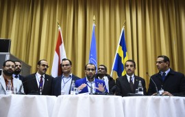 Rebel negotiator Mohammed Abdelsalam (C) holds a press conference together with members of the delegation following the peace consultations taking place at Johannesberg Castle in Rimbo, north of Stockholm, Sweden, on December 13, 2018. - Yemen's government and rebels have agreed to a ceasefire in flashpoint Hodeida, where the United Nations will now play a central role, the UN chief said. (Photo by Jonathan NACKSTRAND / AFP) (Photo credit should read JONATHAN NACKSTRAND/AFP via Getty Images)