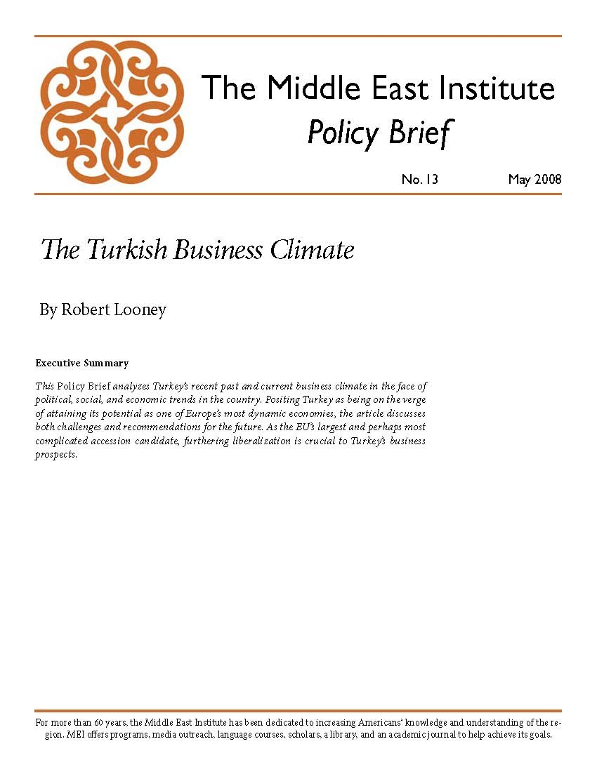 The Turkish Business Climate | Middle East Institute