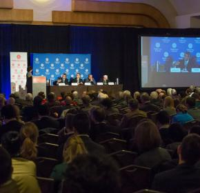"Moderator Kim Ghattas of BBC introduces the speakers for the ""Containing the Islamic State"" panel at MEI's 68th Annual Conference. (November 20, 2014)"