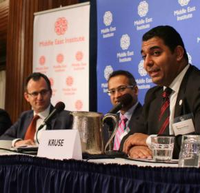 "Panelist Maqsoud Kruse, Executive Director, Hedayah, discusses prevention techniques at the Middle East Institute event, ""Countering Violent Extremism."""