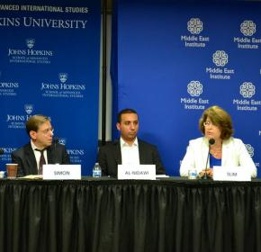 "(From left) Richard Clarke, Steven Simon, Omar Al-Nidawi, Randa Slim and Daniel Serwer at ""Confronting ISIS: Challenges and Options"" (July 24, 2014)."