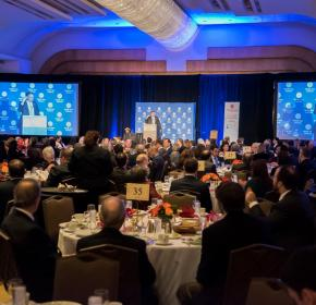 The Honorable Tim Kaine, U.S. Senator from Virginia and chairman of the Senate Subcommittee on Near East, South and Central Asian Affairs, delivers the keynote address at MEI's Annual Awards Banquet. (November 19, 2014)