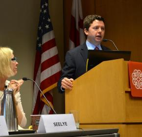 "Kate Seelye and Eric Trager at ""The Muslim Brotherhood: Between the Path of Ennahda and the Threat of the Islamic State"" (July 14, 2014)."