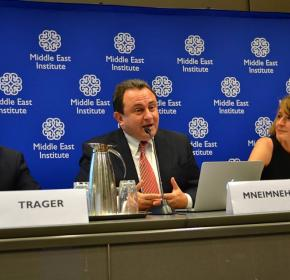 "(From left) Eric Trager, Hassan Mneimneh and Alison Pargeter at ""The Muslim Brotherhood: Between the Path of Ennahda and the Threat of the Islamic State"" (July 14, 2014)."