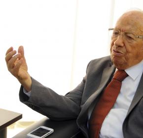 Beji Caid Essebsi, head of the Tunisian party Nida Tunis (Tunisia Calls), gestures during an interview in his office in Tunis, Tuesday, Oct.28, 2014.