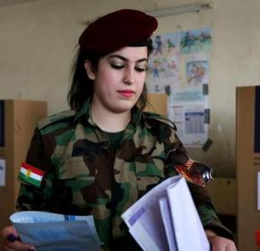 Kurdish military voting in Erbil, Iraqi Kurdistan, April 28, 2014